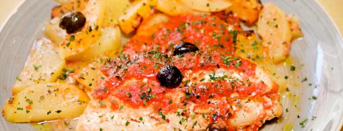 Baccalà al forno con porro e patate